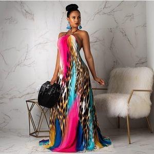 Dresses & Skirts - Maxi Animal Print Stretch Halter Cheetah Dress
